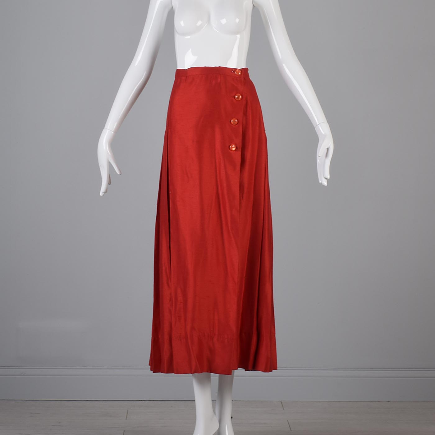 4f597d5f36 Details about Large Vintage 1980s 80s Red Maxi Skirt Holiday Hostess Wrap  Pleated