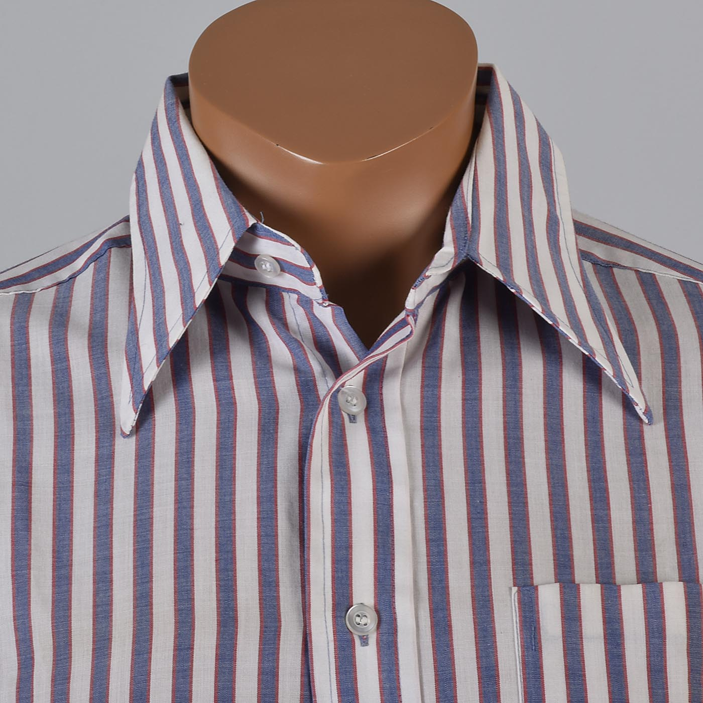 L vintage 1970s striped mod shirt long sleeve button down for Red and white striped button down shirt
