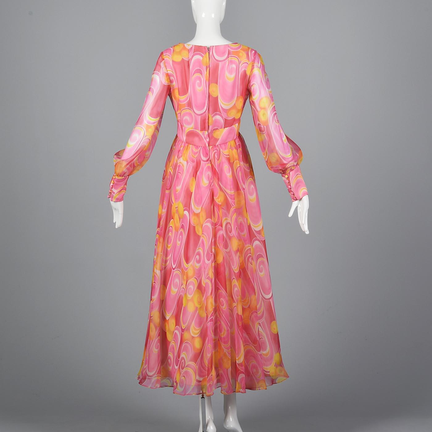 M Vintage 1970s 70s Pink Chiffon Prom Dress Long Sleeve Flowy Formal ...